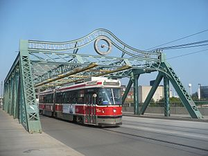 501 Queen - ALRV 4251 westbound to the Humber Loop crosses  the Queen Street Viaduct over the Don River