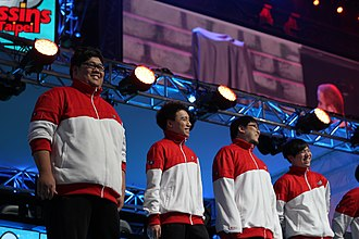 League of Legends World Championship - A group picture of the Taipei Assassins, the champions of season 2.