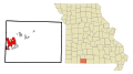 Taney County Missouri Incorporated and Unincorporated areas Branson Highlighted.svg