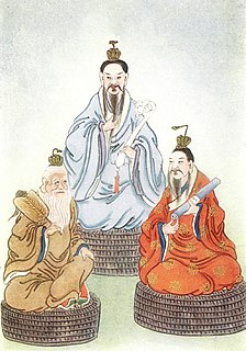 The three highest gods in the Taoist pantheon, regarded as pure manifestation of the Tao and the origin of all sentient beings