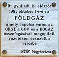 Tapolca gas pipeline plaque (Tapolca Móricz Zsigmond u 8).jpg