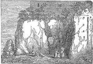 Tarpeian Rock - A 19th century etching of the Tarpeian Rock.