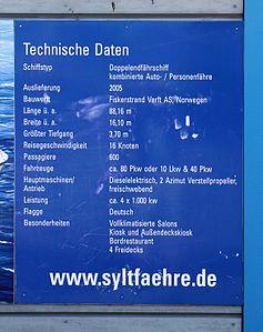 Technische Daten zur Syltfähre Schild in List auf Sylt IMG 7578.JPG