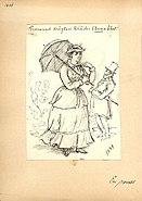 Teckning, Fritz von Dardel, 1884. Promenad drägten kläder Anna bäst - Nordiska Museet - NMA.0035994
