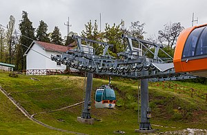 Millennium Cross - View of the cable car in the top