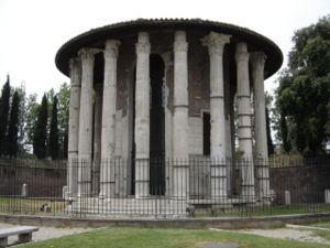 Roman temple - The Temple of Hercules Victor, in the Forum Boarium in Rome; the entablature is lost and the roof later.