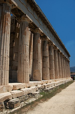 Temple of Hephaestus - Doric colonnade facing the Agora