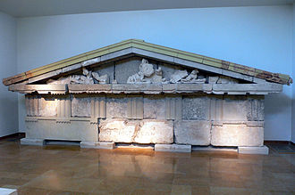 Megaris - Pediment of the treasury of Megara, Museum of Olympia