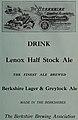 The Berkshire Brewing Association - Lenox Half Stock Ale - Berkshire Lager - Greylock Ale 1910 ad - North Adams ... city directory (IA northadamscitydi1910unse) (page 27 crop).jpg