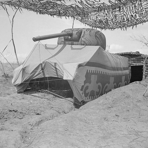 Mock tank, British Army in Italy, WWII