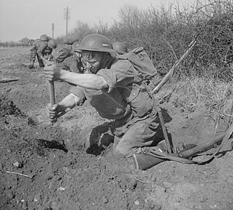 48th (South Midland) Division - Men of the 1/7th Battalion, Royal Warwickshire Regiment, digging in with entrenching tools during training at Horncastle, 15 April 1942.