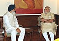 The Chief Minister of Punjab, Shri Parkash Singh Badal calling on the Prime Minister, Shri Narendra Modi, in New Delhi on July 18, 2014.jpg