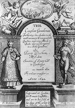 Henry Peacham (born 1578) - The Complete Gentleman by Henry Peacham (1622). Engraving by Francis Delaram.