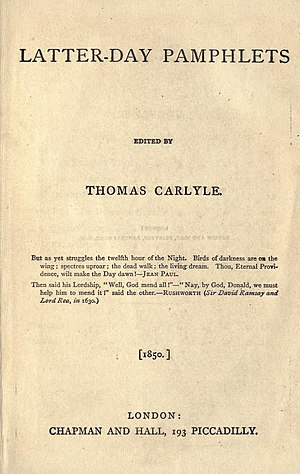 Latter-Day Pamphlets - The first edition of Carlyle's Latter-Day Pamphlets, 1850.
