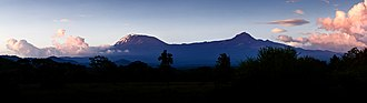 Mount Kilimanjaro - Two of Kilimanjaro's volcanic cones: Kibo (left) and Mawenzi (right).