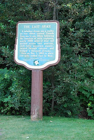 Last Spike (Canadian Pacific Railway) - A plaque commemorating the driving of the Last Spike