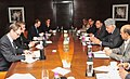 The Norwegian Minister for Environment and International Cooperation, Mr. Erik Solheim with the Union Minister for New and Renewable Energy, Dr. Farooq Abdullah, in a meeting, in New Delhi on February 01, 2012.jpg