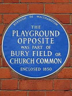 The playground opposite was part of bury field or church common enclosed 1850