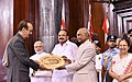 The President, Shri Ram Nath Kovind presenting the Outstanding Parliamentarian Award for the year 2015 to Shri Ghulam Nabi Azad, at a function, at Parliament House, in New Delhi.JPG