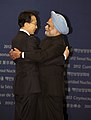 The Prime Minister, Dr. Manmohan Singh with the South Korean President, Mr. Lee Myung-bak, at the Welcome Reception for the Nuclear Security Summit, in Seoul on March 26, 2012 (2).jpg