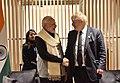 The Prime Minister, Shri Narendra Modi meeting the UK Foreign Secretary, Mr. Boris Johnson, at London airport on April 17, 2018.JPG