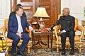 The Prime Minister of the Republic of Latvia, Mr. Maris Kucinskis meeting the President, Shri Ram Nath Kovind, at Rashtrapati Bhavan, in New Delhi on November 03, 2017.jpg