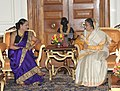 The Prime Minister of the Republic of Trinidad and Tobago, Mrs. Kamla Persad-Bissessar calls on the President, Smt. Pratibha Devisingh Patil, in New Delhi on January 06, 2012.jpg