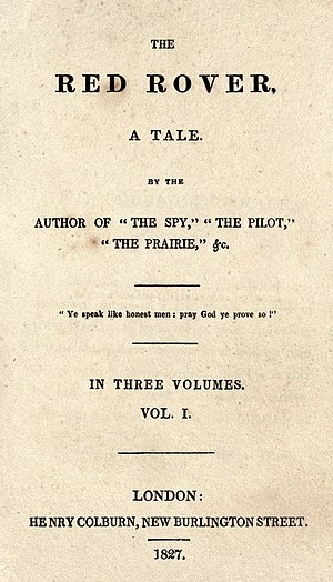 The Red Rover - 1827 title page