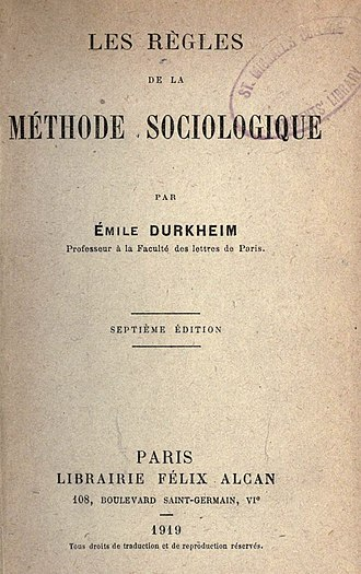 Émile Durkheim - Cover of the French edition of The Rules of Sociological Method (1919)