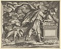 The Sacrifice of Isaac set in a landscape with a flock of sheep at left and an angel guiding Abraham's sword at upper left MET DP836967.jpg