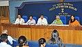 The Union Minister for Culture Smt. Chandresh Kumari Katoch addressing the media persons on Kedarnath Temple restoration, missing monuments, Tagore Award, Gandhi Heritage Mission and Gandhi Heritage Portal.jpg