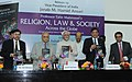 "The Vice President, Shri Mohd. Hamid Ansari releasing a book entitled ""Religion, Law and Society Across the Globe"", authored by Prof. Tahir Mahmood, in New Delhi on April 12, 2013.jpg"