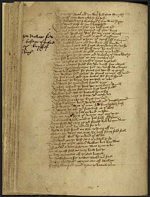 "The Wallace (poem) - The Ramsay Manuscript of ""The Wallace"", 1488. (National Library of Scotland)."