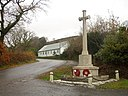 The War Memorial and village hall, Llangynog - geograph.org.uk - 1048647.jpg