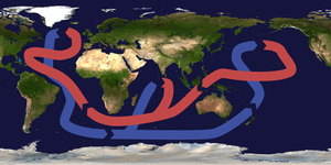 A schematic of modern thermohaline circulation