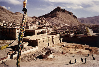Gyantse - Gyantse with the Dzong fortress in the background. 1995.
