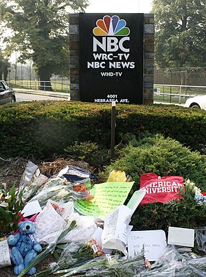 Tim Russert - A makeshift memorial at WRC-TV, the site of studios for Meet the Press