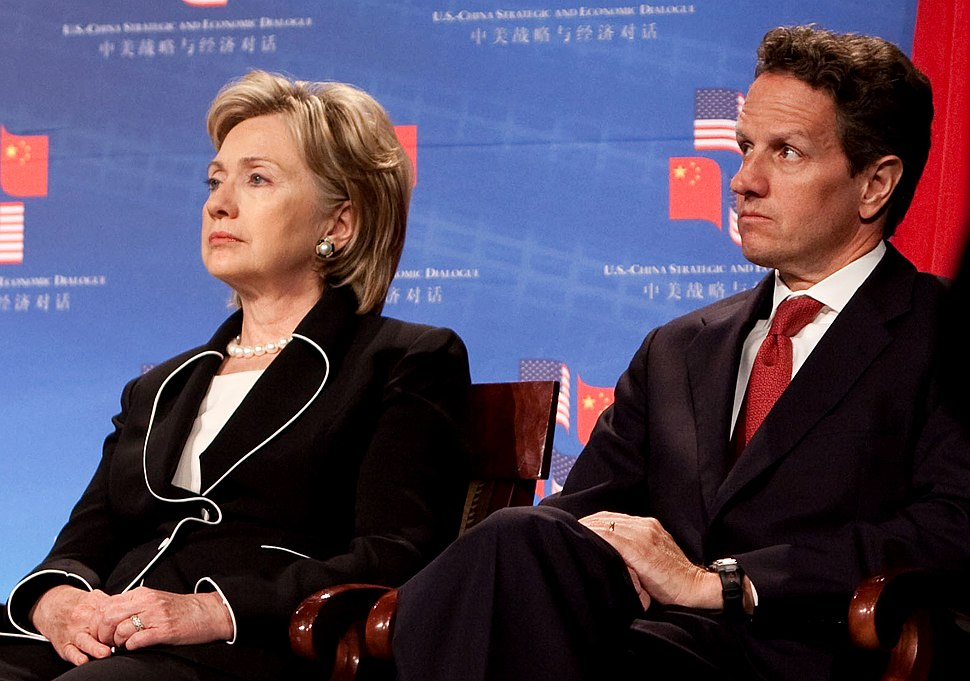Timothy Geithner with Hillary Rodham Clinton