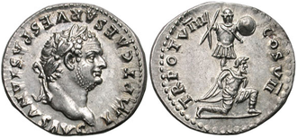 Roman denarius depicting Titus, c. 79. The reverse commemorates his triumph in the Judaean wars, representing a Jewish captive kneeling in front of a trophy of arms.
