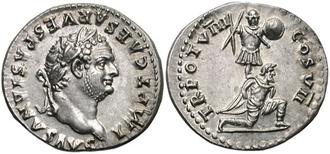 Judaea Capta coinage - Roman denarius depicting Titus, c. 79. The reverse commemorates his triumph in the Judaean wars, representing a captive kneeling in front of a trophy of arms.