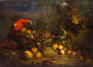 Parrots and Fruit with Other Birds and a Squirrel