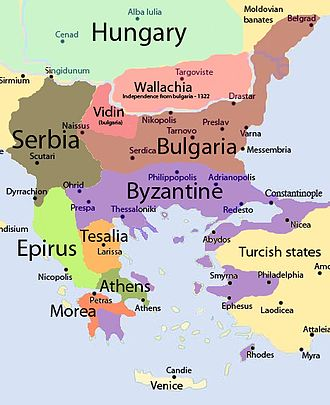 Byzantine civil war of 1321–1328 - Byzantine Empire and surrounding territory in 1307, shortly before the First Palaiologan Civil War.