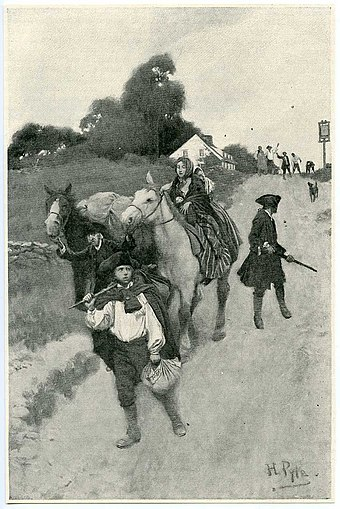Loyalist refugees on their way to the Canadas during the American Revolution. The loyalists helped establish the base of support for political cliques in the Canadas, locally referred to as Tories. Tory Refugees by Howard Pyle.jpg
