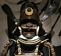 Tosei gusoku armor with white lacing and Chinese magistrate's cap helmet (head).JPG