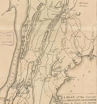 William Howe, 5th Viscount Howe - A period map depicting the British Army movements in Westchester County, New York