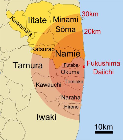 Towns evacuated around Fukushima on April 11th, 2011