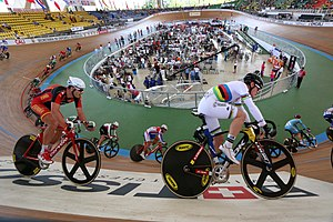 Track cycling - A track cycling race at the third round of 2014–15 UCI Track Cycling World Cup in the Velódromo Alcides Nieto Patiño in Cali, Colombia