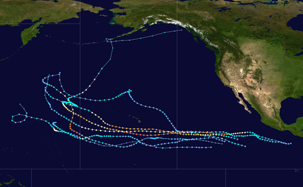 Tracks of tropical cyclones that crossed from the eastern Pacific to the western Pacific Tracks of East-West Pacific crossover storms.png