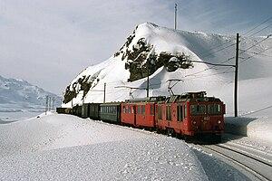 Rhaetian Railway Gem 4/4 - Unrebuilt Gem 4/4 802 above Lago Bianco, 1980s.