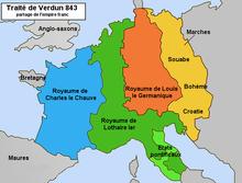 Partage de l'Empire carolingien après le traité de Verdun en 843